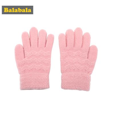 巴拉巴拉兒童手套針織女童冬季新款加厚保暖純色小男孩魔術觸屏男