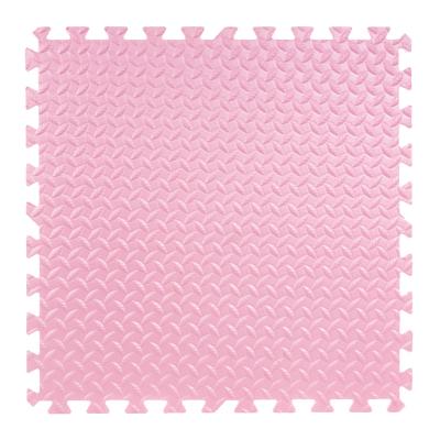 明德泡沫地垫拼图爬行垫儿童卧室树叶纹拼接防滑垫大号60*60加厚(粉色1片)1.2cm