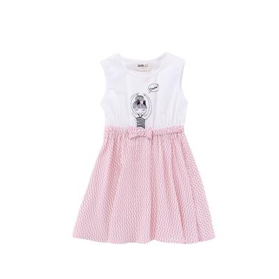 Жижиг улаан буурцаг бүхий хүүхдийн хувцас худалдааны төв нь ижил төстэй охидын зуны хувцаслалт, pleated юбка оёдог гадаад загвартай GXQ533KB3 110cm ягаан
