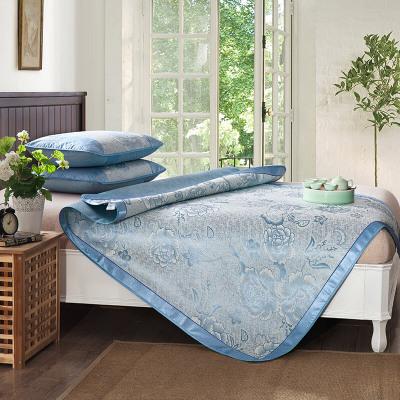 迎馨家纺 凉席冰丝席可折叠大提花席子薄软夏季凉席套件柔软舒适印花图案