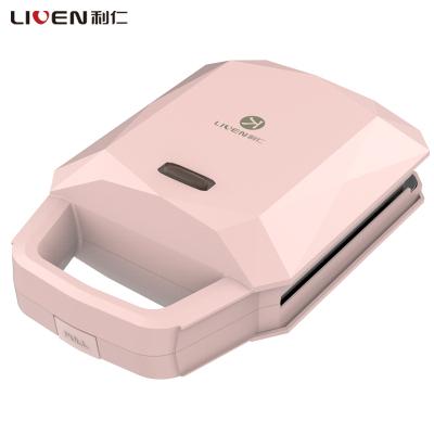 利仁(Liven)三明治機(蛋糕機)ZCJ-SM130A櫻花粉色輕食機早餐機雙面加熱華夫餅機不粘涂層烤盤600W