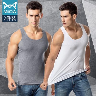 貓人男士無痕背心青年夏季莫代爾無袖修身型運動青年薄款冰絲汗衫