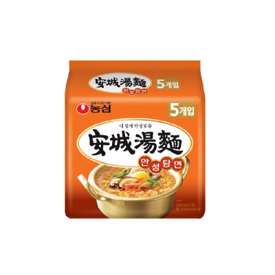 農心韓國進口辛拉面出品安城湯面125g*5方便面 韓國泡面整袋裝