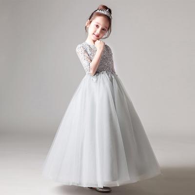 儿童公主裙女童蓬蓬裙花童钢琴演出服小主持人生日走秀晚礼服婚纱