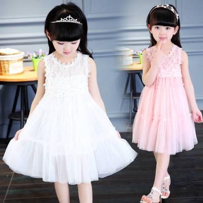 圣誕節女童連衣裙2019新款韓版兒童公主裙小女孩演出服夏季時尚白色紗裙