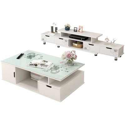 古达电视柜茶几组合桌现代简约客厅家用北欧简易小户型实木色电视机柜