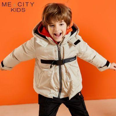 【2件2.5折價:174.8】米喜迪mecity童裝冬新款男童戶外風織帶茄克短款羽絨服