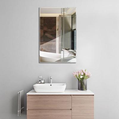 防爆無框浴室鏡子長方形壁掛鏡衛生間穿衣鏡歐式免打孔貼墻化妝鏡弧威