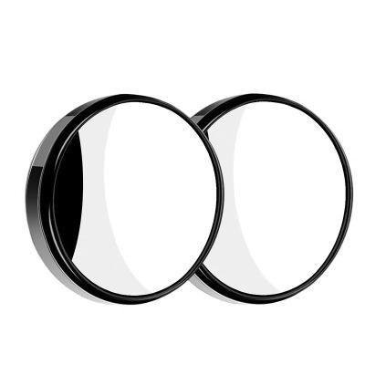 汽車后視鏡小圓鏡倒車盲點鏡高清360度可調廣角帶邊框反光輔助鏡 有邊框小圓鏡-黑色一對