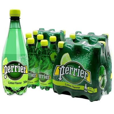 【青檸塑料瓶裝】巴黎水(Perrier)天然氣泡礦泉水(青檸味)塑料瓶裝 500ml*24瓶/箱 進口飲用水 法國進口