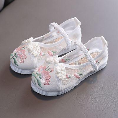 佐歐雅2020漢服女童繡花鞋民族風寶寶公主鞋兒童布鞋學生古裝表演出鞋