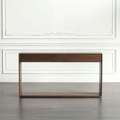 顧致黑胡桃木實木條案北歐日式案臺橡木簡約玄關柜櫻桃木供桌可定制