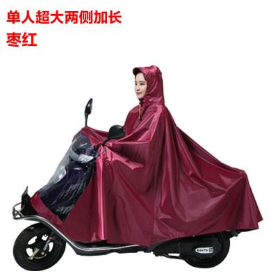 超大踏板電動車摩托車雨衣加大加厚一來雨披雙人單人防水電動車零件配件騎行裝備山地自行車單車零件配件騎行 F單人棗紅色牛津布