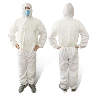 一次性防护工作服无纺布连体带帽喷漆防尘防疫养殖场隔离衣 PP白色普通(有帽无脚套) L