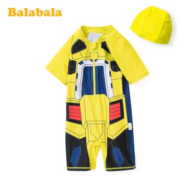 巴拉巴拉兒童泳衣男童套裝中大童男孩青少年卡通印花連體泳衣泳帽