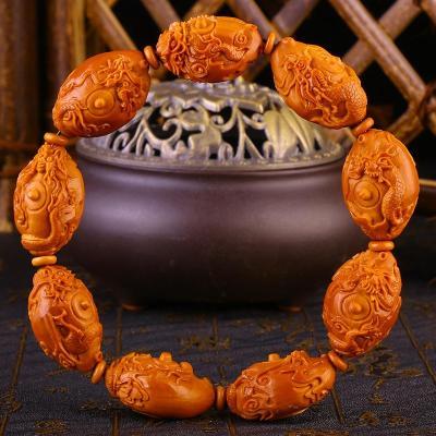 九龙茶壶橄榄核雕手串
