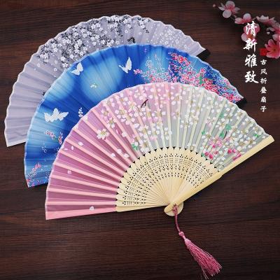 扇子折扇中國風女式古風流蘇夏季隨身古典古裝古代漢服折疊小竹扇 02粉色櫻雨
