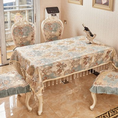 木儿家居 欧式餐桌桌布布艺家用长方形桌布餐椅套椅垫套装桌旗美式茶几桌布