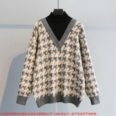 千鸟格假两件套加厚半高领套头毛衣女韩版宽松时尚休闲慵懒风针织