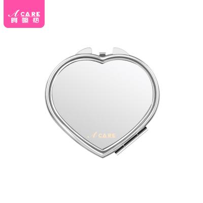 心形鏡1個#Acare時尚化妝鏡便攜鏡女士隨身折疊小鏡子不銹鋼雙面鏡宿舍簡約