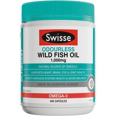 【香港直邮】澳洲Swisse深海鱼油软胶囊 无腥味鱼肝油高浓度1000mg 400粒 含欧米伽3原装进口成人中老年人血压