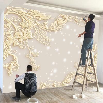 歐式電視背景墻壁紙家用閃電客現代簡約花紋影視墻壁畫自粘墻紙花朵