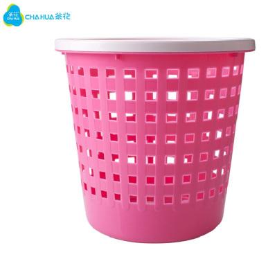 茶花垃圾桶家用厨房带压圈小号卫生间纸篓筒客厅办公室分类拉圾桶 1211