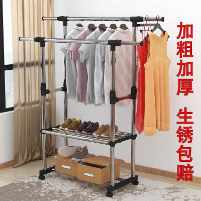 晾衣架落地伸縮不銹鋼室內折疊雙桿式臥室涼衣服架子陽臺掛曬衣架弧威(HUWEI)