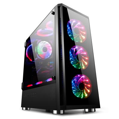 金河田峥嵘Z20台式机电脑主机箱、游戏水冷全侧透钢化玻璃ATX黑色电脑机箱