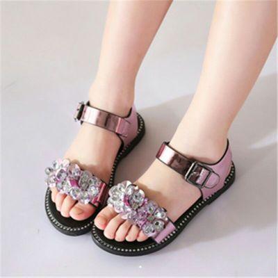 女童鞋2018新款凉鞋女公主鞋女童水晶凉鞋平底闪亮童凉鞋子学生鞋