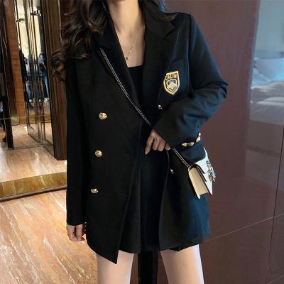 追记 英伦学院风黑色双排扣休闲宽松韩版小西装外套女西服
