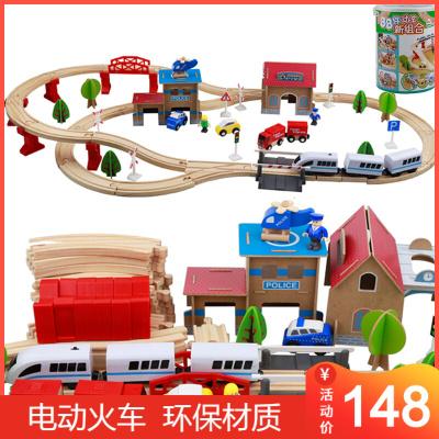 一点 托马斯电动小火车轨道车玩具儿童益智木质拼装立体拼插积木1-3岁3-6岁小孩男孩女孩 88片松木桶装电动火车头套装