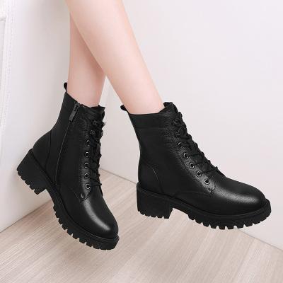 百年紀念Centenary【頭層牛皮】真皮秋冬加絨女靴子棉鞋厚底女馬丁靴2256