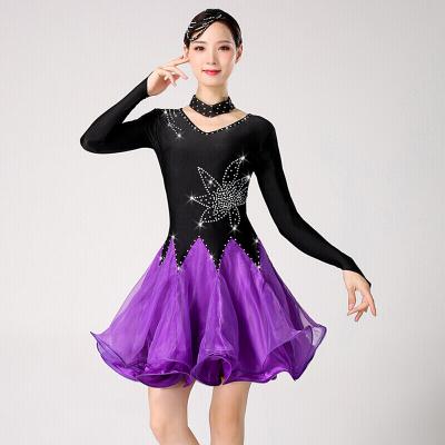 高端舞蹈三步踩裙新款女表演比賽演出服吉特巴舞蹈服裝倫巴舞裙廣場水兵舞八月七