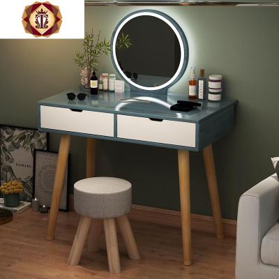 小型网红少女化妆桌带灯经济型超窄迷你60cm梳妆台租房单人卧室