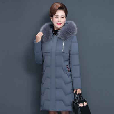 與牧中老年棉衣女中長款40歲50媽媽冬裝外套加厚棉服2020新款8070