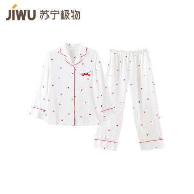 蘇寧極物 女式純棉櫻桃棉質家居服套裝