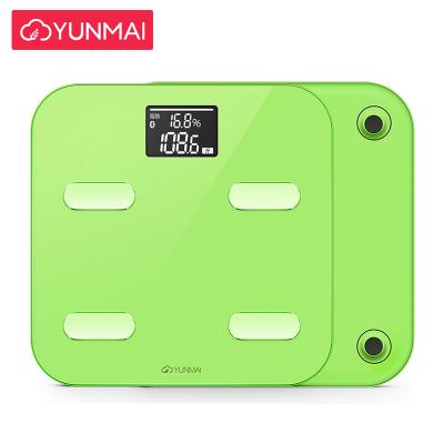 云麦(YUNMAI)好轻Color智能家用体脂称健康秤绿色 29项身体数据测量 精准测体脂称体重 钢化玻璃材质 重量2.2KG