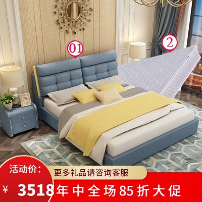 渝州 芝華士 品質北歐布藝實木床床簡約現代可拆洗1.8米小戶型儲物主臥雙人軟包婚床