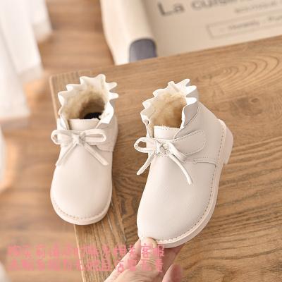 2019冬季新款童鞋儿童时尚皮鞋女童加绒小皮靴子软底棉靴宝宝鞋 白色 29码内长17.5厘米