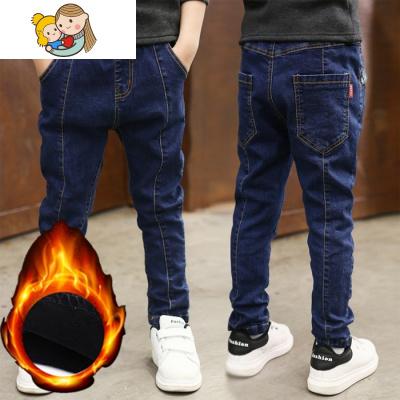 男童十冬裤穿12岁小孩6-9秋冬装11男孩5冬季加绒牛仔裤子13保暖