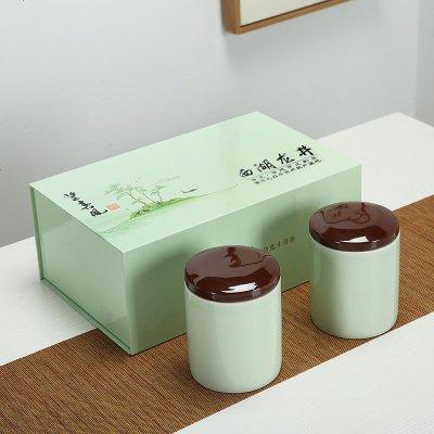 高檔2019明前西湖龍井陶瓷茶葉禮盒空盒包裝盒通用半斤裝空禮盒