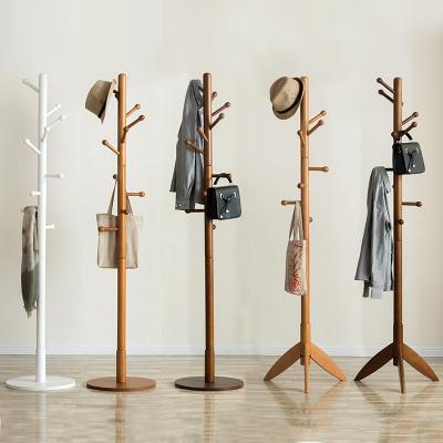 越茂實木衣帽架落地衣架臥室衣服架簡易單桿式客廳門廳創意掛衣架