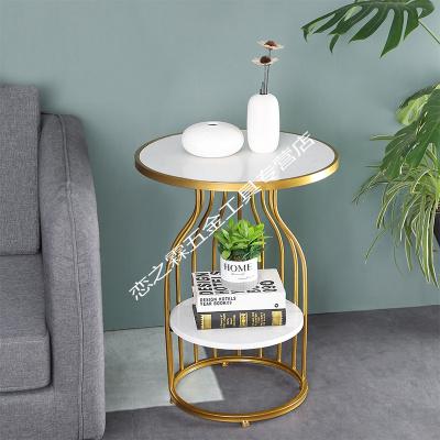 北欧轻奢边几客厅沙发角几大理石铁艺小圆桌简约床头边柜阳台茶几