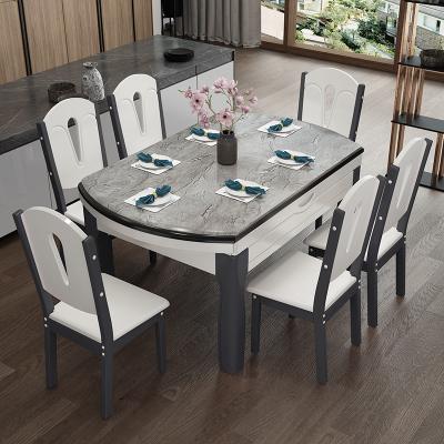 尋木匠大理石餐桌椅組合可伸縮折疊小戶型家用餐桌現代簡約實木飯桌圓桌