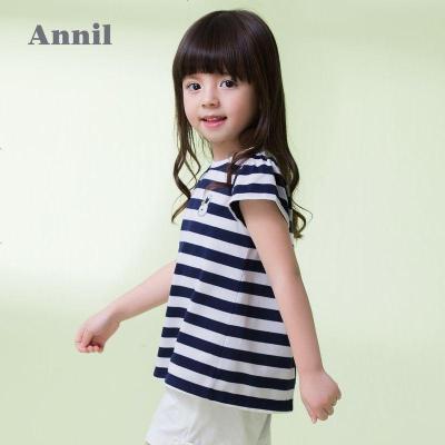 安奈儿童装女童T恤夏装新款女小童经典条纹圆领套头打底上衣