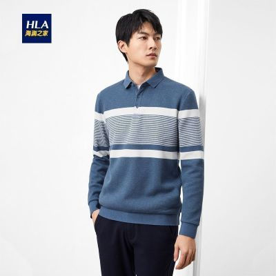 HLA海澜之家条纹POLO衫2019冬季加绒半开襟男士长袖针织衫HNTPD4R407A