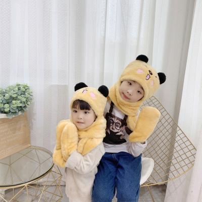 热卖男女儿童围巾帽子手套三件一体熊猫刺绣冬加厚可爱小熊耳朵三件套