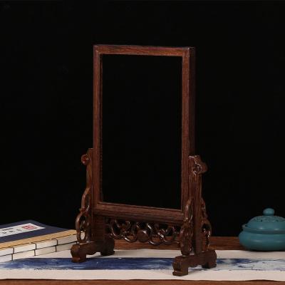紅木鏡框像框雞翅木閃電客臺屏屏風插屏實木裝飾擺件木質裝裱字畫鏡框架