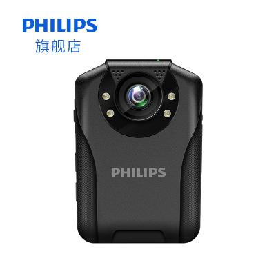 飛利浦執法記錄儀VTR8201小型便攜高清微光夜視攝像頭全彩胸前佩戴防爆256G擴展 自帶肩夾15小時續航1296P